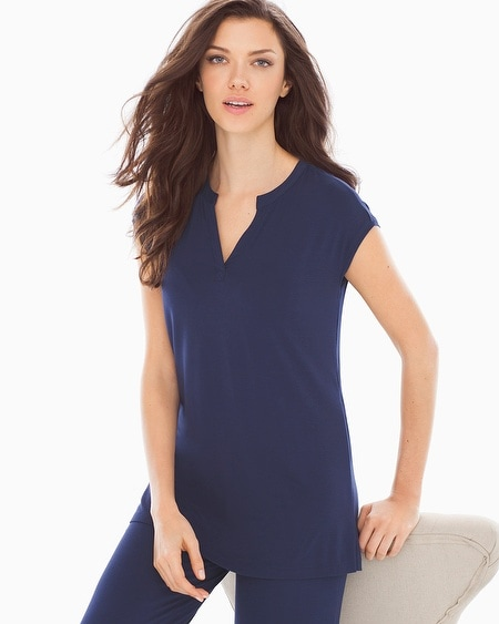 Cap Sleeve Popover Pajama Top Navy