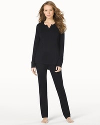 Cozy Fleece Long Sleeve Pajama Set Black