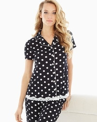 Embraceable Cool Nights Notch Collar Short Sleeve Pajama Top Fab Dot Black
