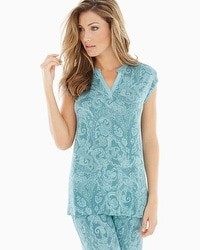 Embraceable Cool Nights Pop Over Cap Sleeve Pajama Top Lustrous Jaded