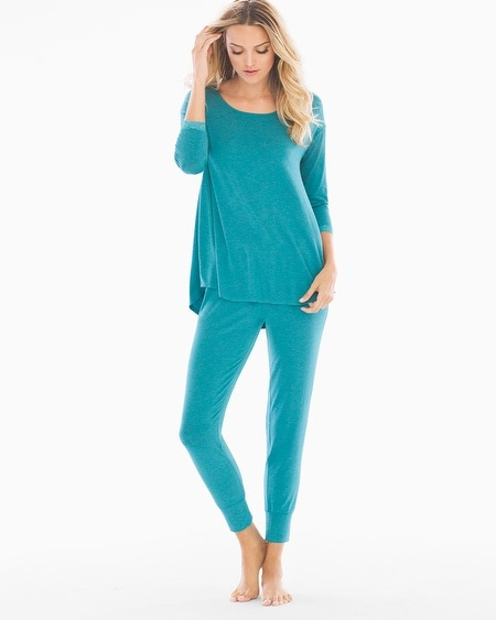 3/4 Sleeve Pajama Set Heather Pagoda