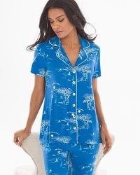 Cool Nights Notch Collar Short Sleeve Pajama Top French Riviera