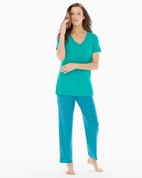 Cool Nights Ankle Pants Pajama Set Tinted Tile Mini Dynasty