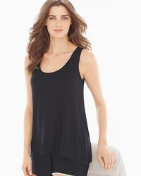 Embraceable Cool Nights Scarf Hem Pajama Tank Black