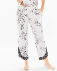 Cool Nights Lace Trim Ankle Pajama Pants Ethereal Ivory