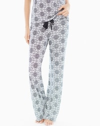 Embraceable Cool Nights Pajama Pants Tall Inseam Ornate Tile Geo Ivory