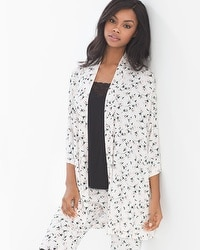 Cool Nights Pajama Cardi Wrap Graceful Bloom Ivory