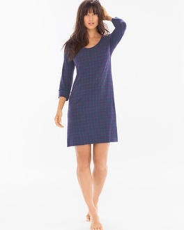 Cool Nights 3/4 Sleeve Sleepshirt Fine Geo Navy