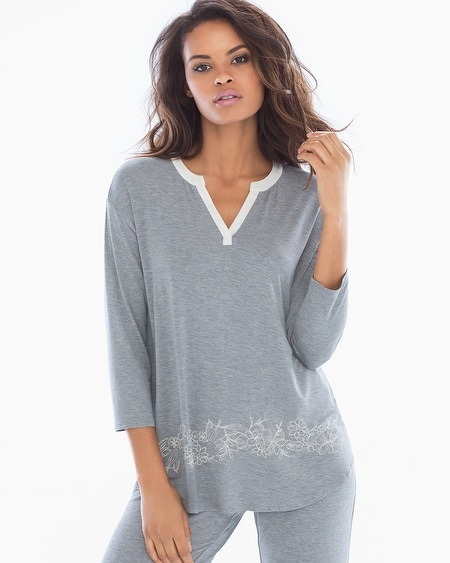 3/4 Sleeve Pop Over Top Content Border Heather Silver