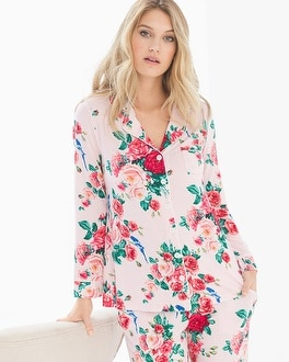 Cool Nights Long Sleeve Notch Collar Pajama Top Floral Fancy Pink