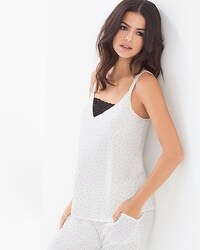 Cool Nights Pajama Cami With Lace Itsy Bitsy Dot Ivory