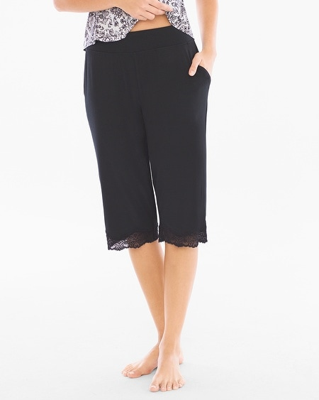 Narrow Crop Pajama Pants Black