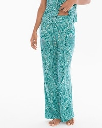Cool Nights Contrast Piped Pajama Pants Springtime Paisley Ivy