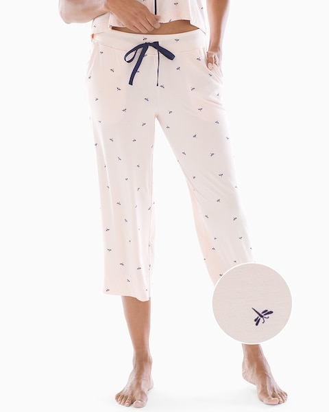 bd9e30a0461d Cool Nights Grosgrain Trim Crop Pajama Pants Dragonfly Peach Blossom - Soma