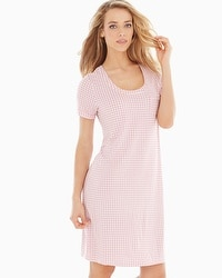 Embraceable Cool Nights Short Sleeve Sleepshirt Gingham Blush Pink