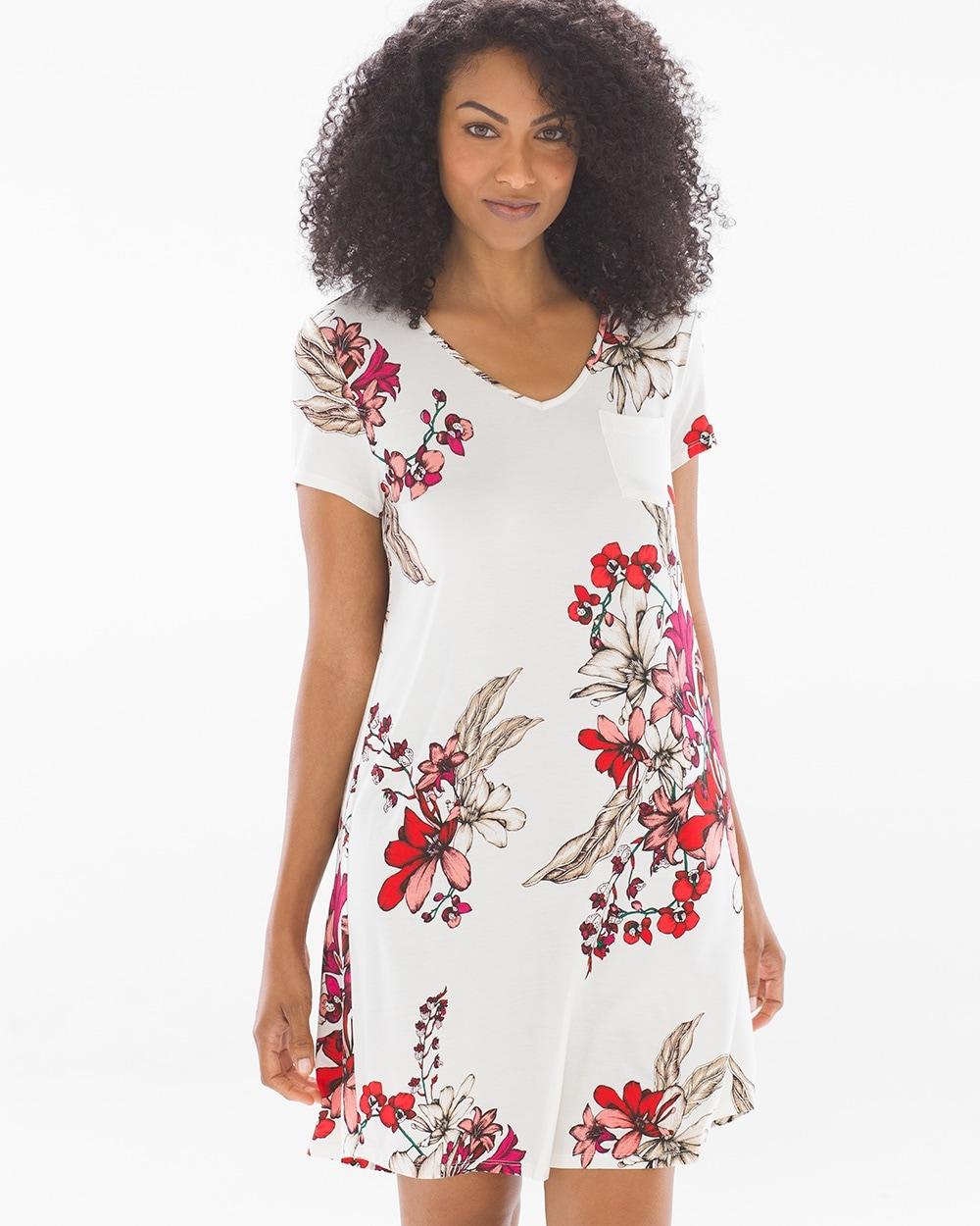 e7f60ce5c02d2 Cool Nights Short Sleeve Sleepshirt Floral Affair Ivory - Shop Soma ...