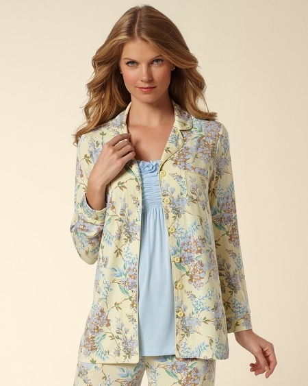 Notch Collar Pajama Top Lyric Yellow Cream