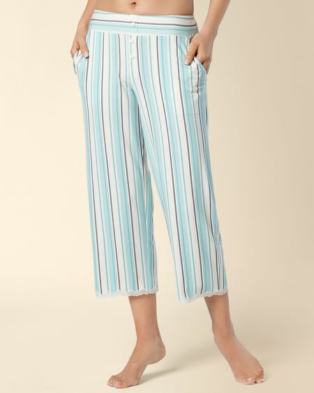 Tactic Stripe Teal Lace Trim PJ Crop
