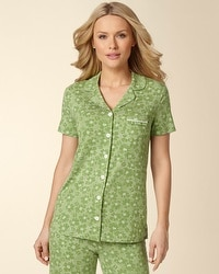 Embraceable Dotted Tropic Lush Green Short Sleeve PJ Top