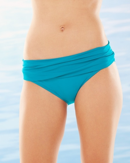 Shirred Hipster Swim Bottom Teal