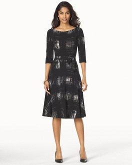 Leota Ilana Scoop Back Dress Rendered Window Pane