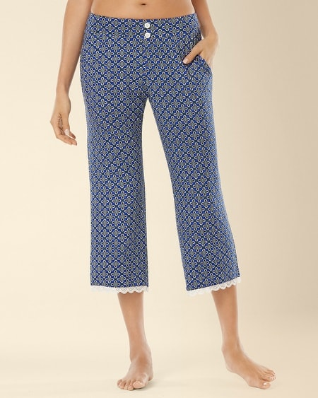 Crop Lace Pajama Pant Medallion Mode Atlantis
