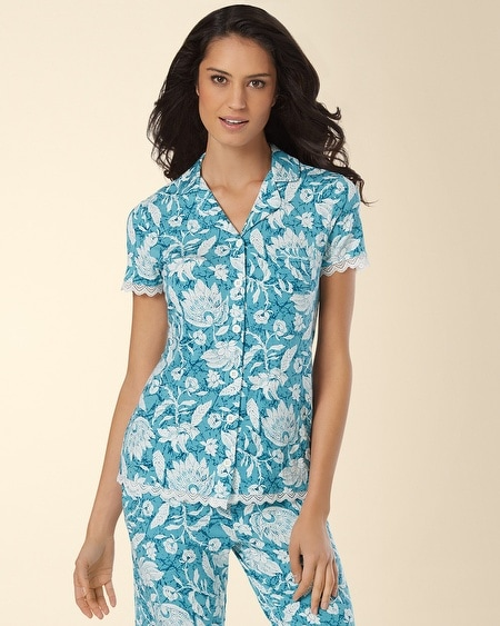 Notch Collar Lace Pajama Top Floral Batik