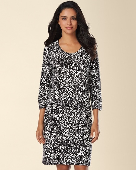 3/4 Sleeve Sleepshirt Edge Black/Ivory