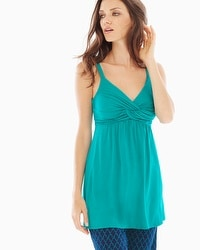 Embraceable Cool Nights Draped Twist Front Sleep Cami Rainforest