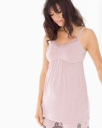 Cool Nights Satin Trimmed Pajama Cami Vintage Pink