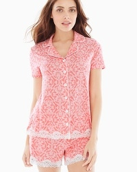 Embraceable Cool Nights Notch Collar Short Sleeve Pajama Top Island Scroll Coral Hype
