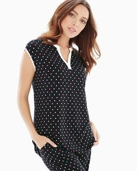 Embraceable Cool Nights Pop Over Cap Sleeve Pajama Top Wondrous Heart Black