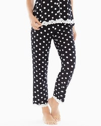 Embraceable Cool Nights Lace Trim Ankle Pajama Pants Fab Dot Black