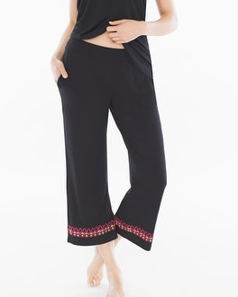 Embraceable Cool Nights Crop Pajama Pants Frolic Embroidered Border Black