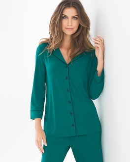Cool Nights 3/4-Sleeve Notch Collar Pajama Top Green Envy