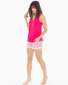 Cool Nights Tank/Shorts Pajama Set Kiss And Tell Pink Punch