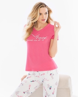 Cool Nights Short Sleeve/Ankle Pants Pajama Set Rose All Day