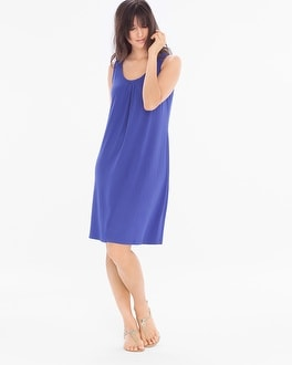 Sleeveless Pleat Front Short Dress Royal Blue