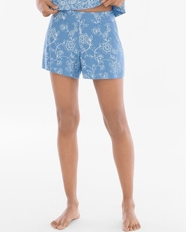 Cool Nights Full Tap Pajama Shorts Parisian Fleur Riviera