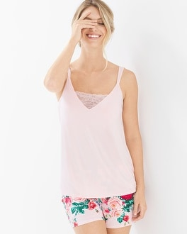 Cool Nights Pajama Cami With Lace Rose Quartz