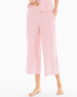 Cool Nights Full Pajama Crop Pants Relaxed Stripe Pink Icing