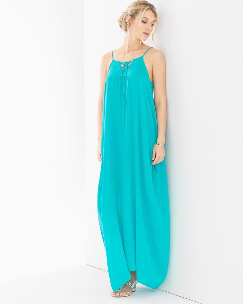9593aed97ff Elan Lace Up Neck Cover Up Maxi Dress Aqua - Soma