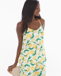 Cool Nights Racerback Pajama Cami Lemon Citrus Ivory