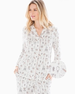 Embraceable Long Sleeve Notch Collar Pajama Top Presents Ivory by