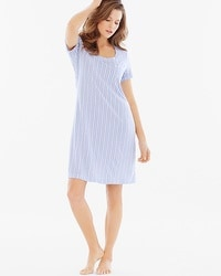 Embraceable Cool Nights Short Sleeve Sleepshirt Cottage Stripe Larkspur