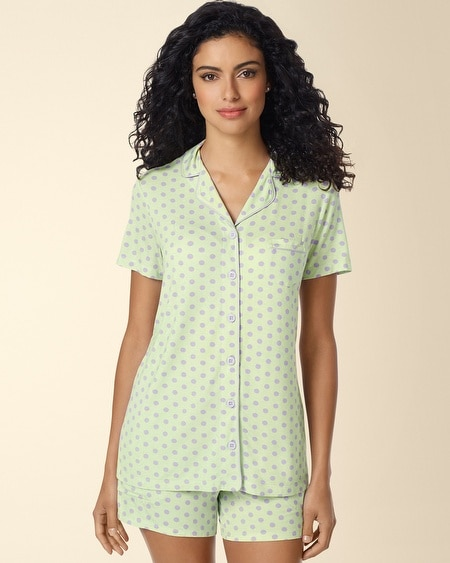 Short Sleeve Notch Collar Pajama Top Big Dot Pistachio