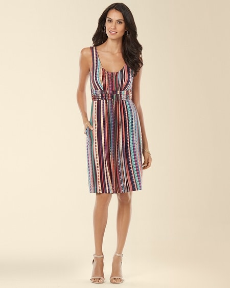 Wrapped Waist Short Dress Fiesta Stripe Multi