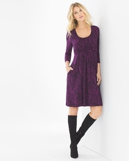 3/4 Sleeve Wrapped Waist Short Dress Linework Floral Warm Plum