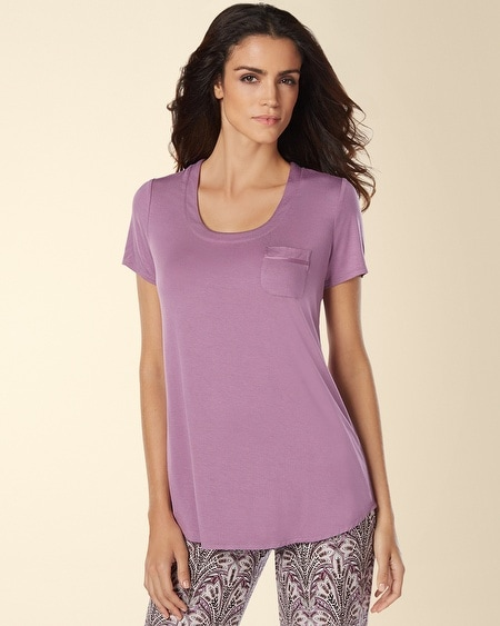 Short Sleeve Pajama Tee with Pocket Grape Frost