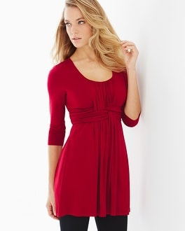 Live. Lounge. Wear. Soft Jersey Wrapped Waist Tunic Ruby